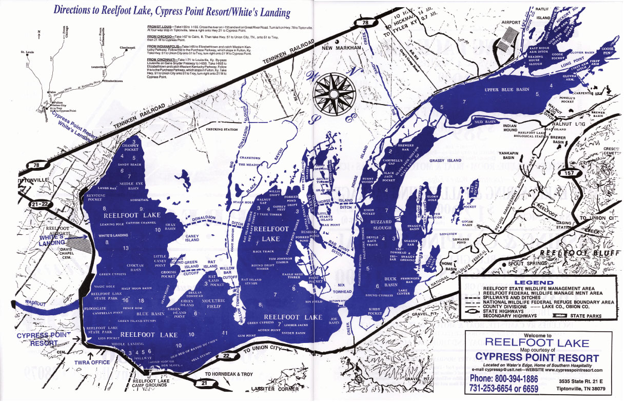 Reelfoot Lake Area Map for Northwest Tennessee